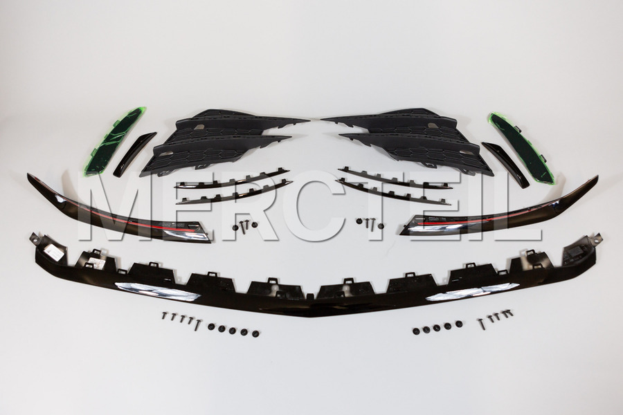 AMG A35 Front Bumper Aerodynamic Package Retrofit Kit for A Class W177 including Side Grids with Black Moldings (1 pc.), Aerodynamic Package Moldings with Mounting Parts (1 pc.) in Body Parts & Aerodynamics.
