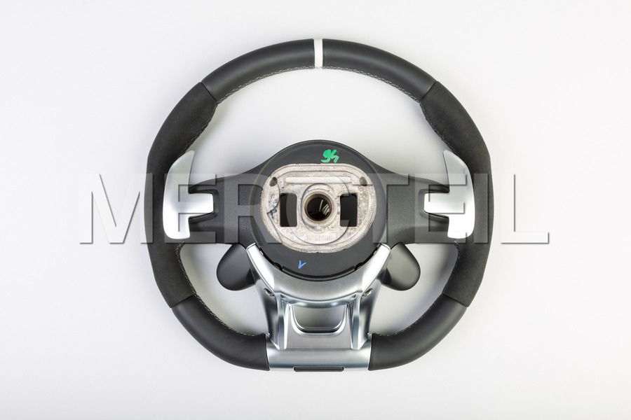 AMG Black Leather Alcantara Steering Wheel White Insertion and AMG Switch Panels including Steering Wheel (1 pc.), Covers (2 pcs.),  Gearshift Paddels (1 pc.),  Contact Plate With Switch Panel (1 pc.) in Steering Wheels.