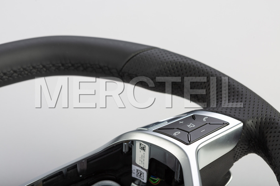 AMG Black Leather Steering Wheel for C Class W204, E Class W212, ClS Class C218 including Steering Wheel (1 pc.), Covers (2 pcs.), Gearshift Paddels Set (1 pc.), Contact Plate With Switch Panel (1 pc.) in Steering Wheels.