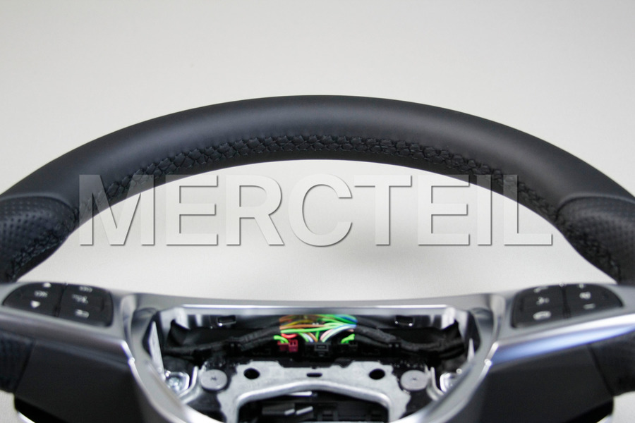 AMG Black Leather Steering Wheel for C-Class W205, GLC-Class X253 including Steering Wheel (1 pc.), Covers (2 pcs.), Gearshift Paddels Set (1 pc.), Contact Plate With Switch Panel (1 pc.) in Steering Wheels.