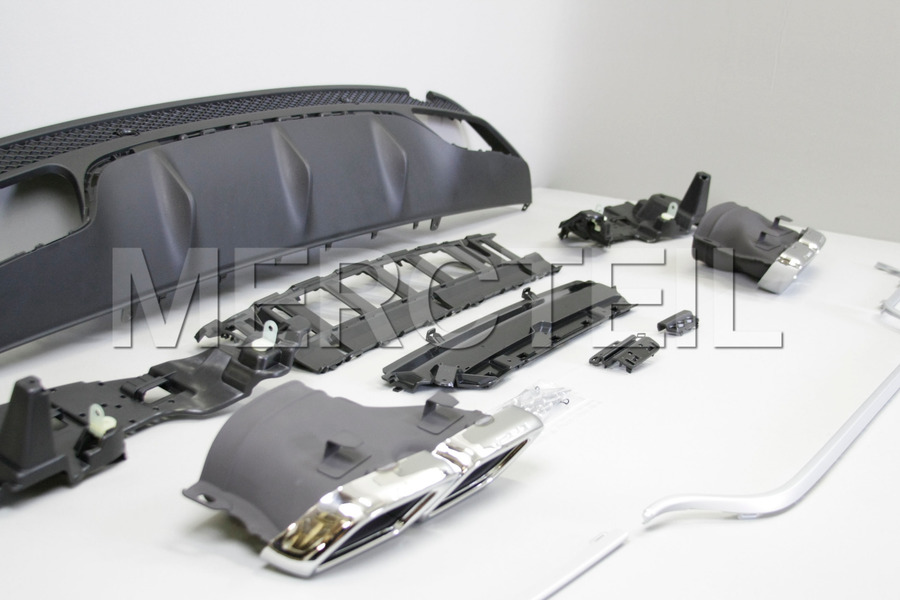AMG Chrome Diffuser Retrofit for С Class W205 2015 including AMG Tail Pipes С63 Chrome (2 pcs.),  Diffuser (1 pc.), Ornamental Mouldings Kit (1 pc.), Fastening Elements (1 pc.) in Body Parts & Aerodynamics.