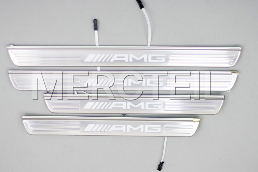 AMG Illuminated Door Sill Panels for S Class W222 including Front Doors Sill Panel with Plastic Trim (2 pcs.), Rear Doors Sill Panel with Plastic Trim (2 pcs.) in Seats & Trims.