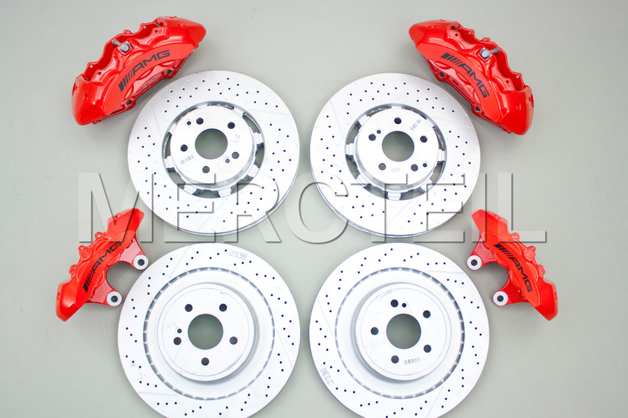 AMG Red Brake System for E CLass W212, CLS CLass C218 including Brake Discs Front And Rear (4 pcs.), Fixed Calipers Front And Rear (4 pcs.), TS Disk Brake Pad Front And Rear (2 sets) in Brakes & Suspensions.