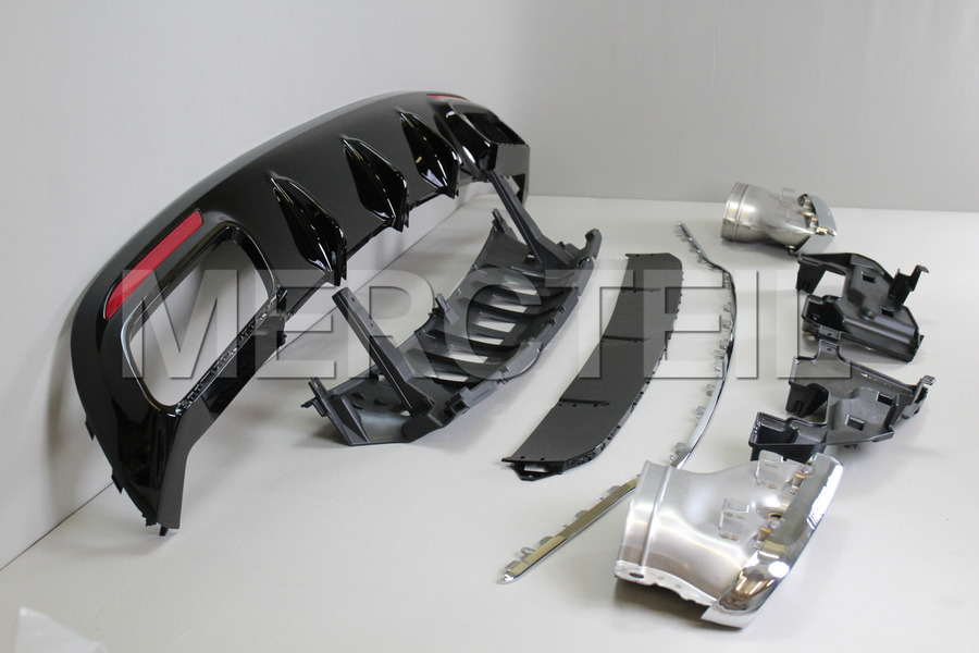 AMG S65 Coupe Chrome Diffuser Retrofit for S Class Coupe C217 2018 including AMG Tail Pipes S65 Chrome (2 pcs.), Diffuser (1 pc.), Ornamental Mouldings Kit (1 pc.), Fastening Elements (1 pc.) in Body Parts & Aerodynamics, Engine & Exhaust System.