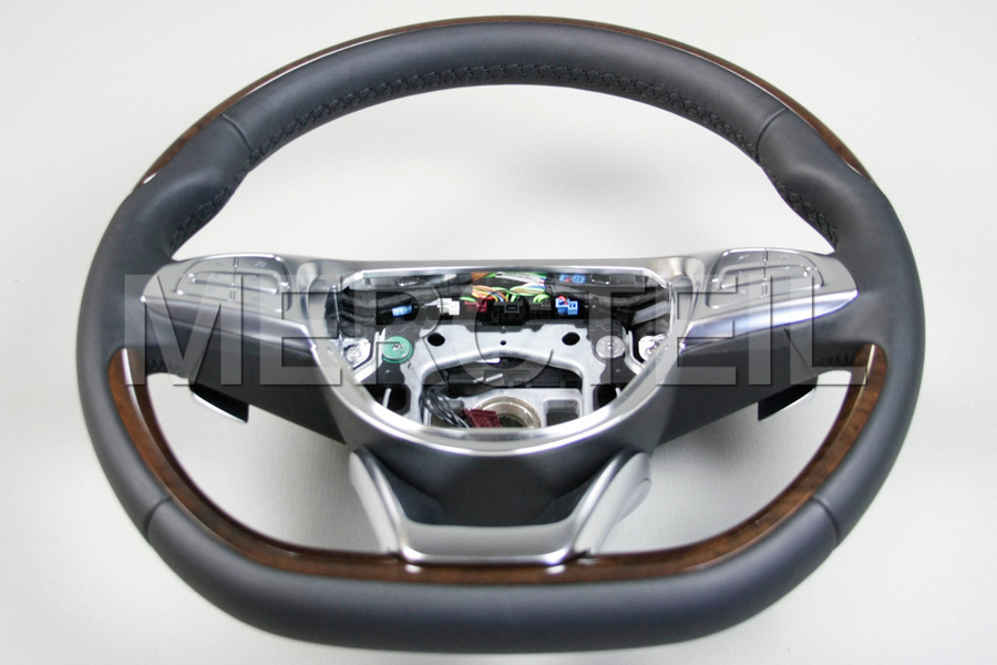 Black Leather Steering Wheel With Burred Walnut Veneer Trim for S-Class W222, C217 including Steering Wheel (1 pc.), Covers (2 pcs.), Gearshift Paddels Set (1 pc.), Contact Plate With Switch Panel (1 pc.) in Steering Wheels.