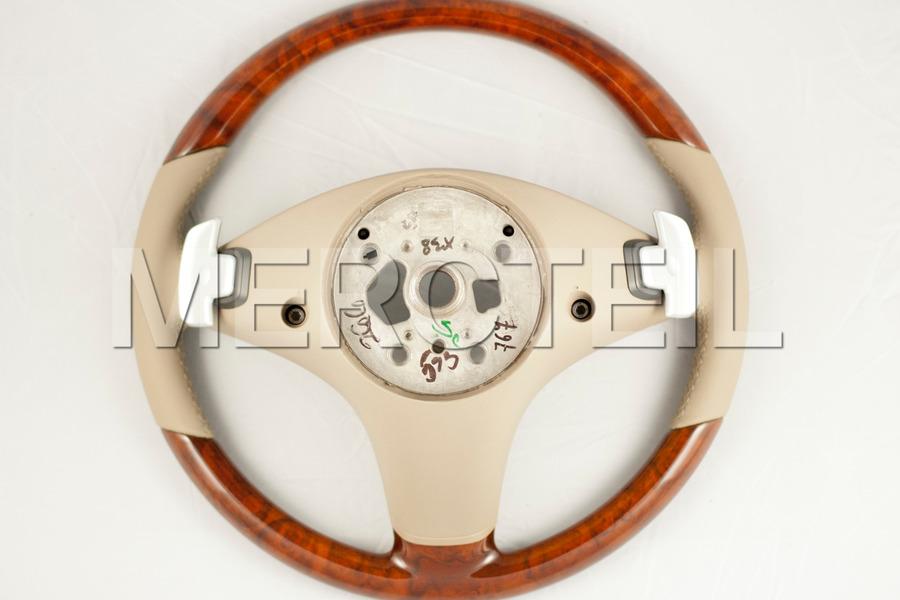 Leather Beige Steering Wheel With Burred Walnut Veneer Trims for SL-Class R230 including Steering Wheel (1 pc.), Gearshift Paddels Set (1 pc.) in Steering Wheels.