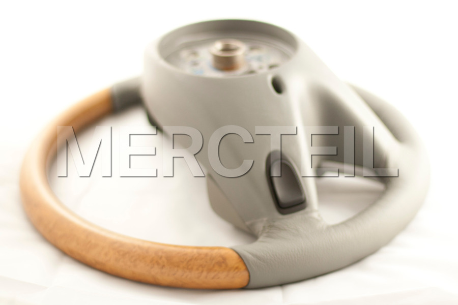 Leather Grey Steering Wheel With Poplar Designo Brown Trims for GL-Class X164 including Steering Wheel (1 pc.), Covers (2 pcs.), Gearshift Paddels Set (1 pc.), Contact Plate With Switch Panel (1 pc.) in Steering Wheels.